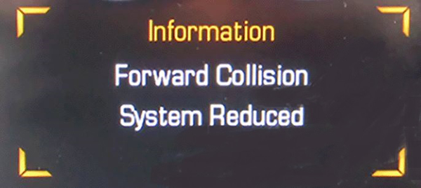 Forward Collision System Reduced Message